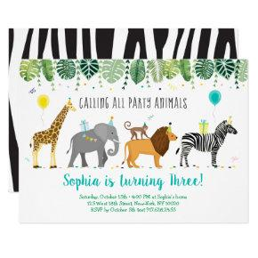 Party Animals Safari Birthday Invitation