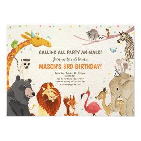 Party Animals Safari Girl Boy Animals Birthday Invitation