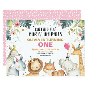 Party Animals Safari Gold Girl Animals Birthday Invitation