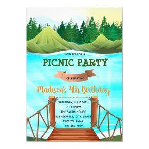 Party at the lake birthday theme invitation