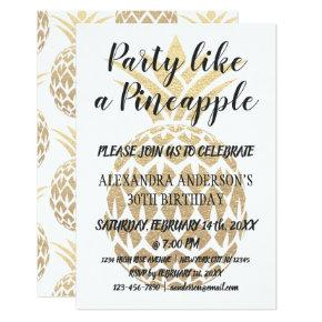 Party Like a Pineapple Any Age Birthday Invitations