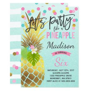 Party Like A Pineapple Birthday Invitations