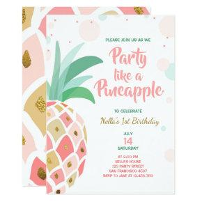 Party like a pineapple birthday Invitations Tropic