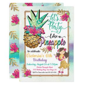 Party like a pineapple tropical birthday invitation