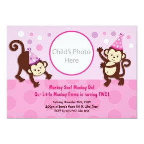 Monkey birthday invitations candied clouds party monkeys girl monkey birthday invitations filmwisefo