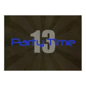 Party Time Black Gray Boy 13th Birthday Invitation