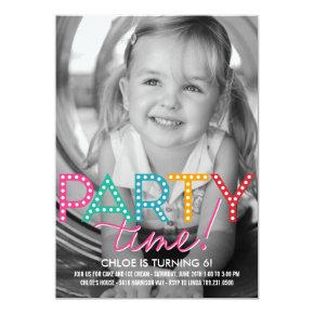 Party Time Photo Birthday Invitations