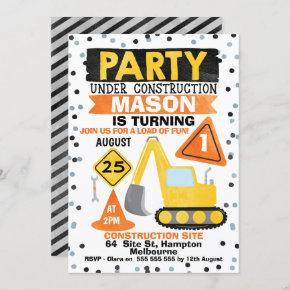 Party Under Construction Birthday Party Invitation