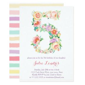 Pastel 5th Birthday Invites For Alfresco Party