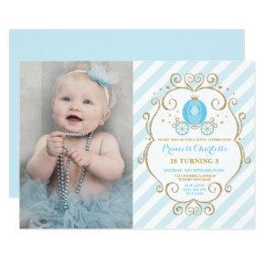 Pastel Blue Princess Cinderella Carriage Birthday Invitation