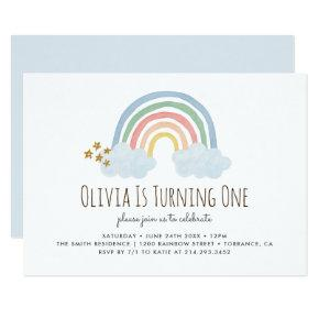 Pastel Pastel Rainbow 1st Birthday Invitation
