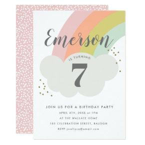 Pastel rainbow cloud childrens birthday party invitation