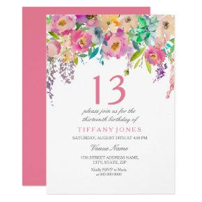Pastel Watercolor Flower Girls 13th Birthday Party Card