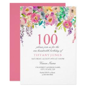 Pastel Watercolor Flowers 100th Birthday Party Invitation