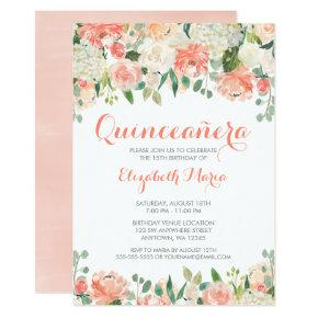 Pastel Watercolor Flowers Quinceañera Invitations