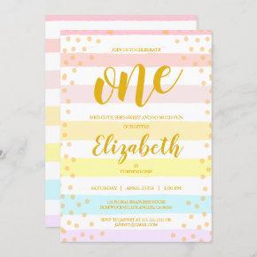 Pastels Pink Stripes Dot Watercolor Girls Birthday Invitation