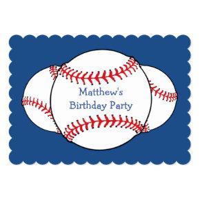 Patriotic Baseball Birthday Party Invitations