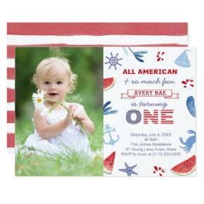 Patriotic USA Beach 1st Birthday Party Picture Invitation