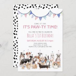 Pawty Time Puppy Dog Birthday Party Invitation