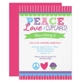 Peace, Love and Cupcakes Birthday Invitations