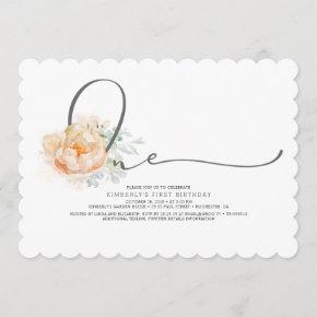 Peach and Cream Floral Elegant 1st Birthday Invitation