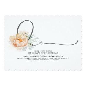Peach and Cream Floral Elegant 1st Birthday Invitation