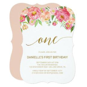 Peach and Pink Peony Flowers First Birthday Party Card