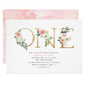 Peach and White Floral First Birthday Invitation