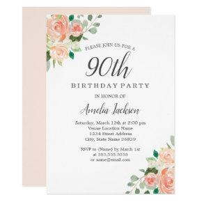 Peach Blush Watercolor Floral 90th Birthday Party Card