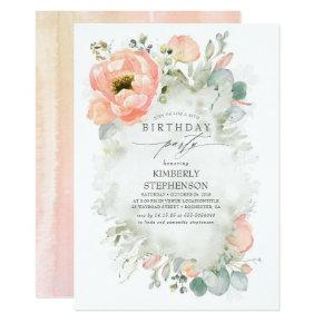 Peach Flowers and Greenery Elegant Birthday Invitation