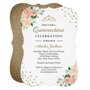 Peach Gold Floral Confetti Quinceanera Invitation