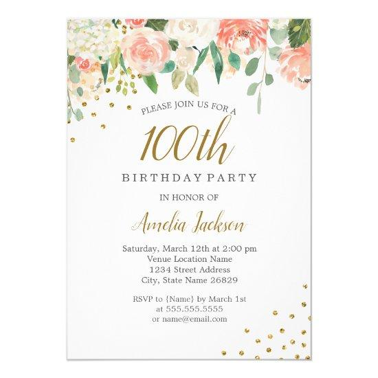 peach gold watercolor floral 100th birthday party invitations