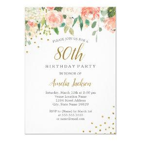 Peach Gold Watercolor Floral 80th Birthday Party Card