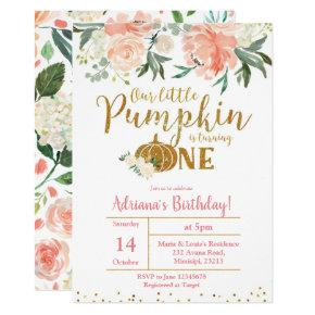 Peach Our Little Pumpkin Is Turning One Invitations