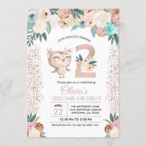 Peachy Owl Second Birthday Invitation