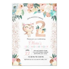Peachy Owl Second Birthday Invitation
