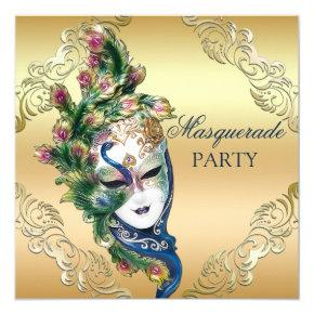 Peacock and Feathers Mask Gold Masquerade Party Card