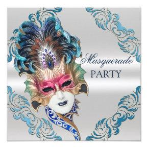 Peacock Feathers Mask Masquerade Party Silver Invitation
