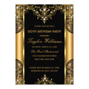 Pearl Lace Gold Black Glamour Birthday Party 2 Invitations