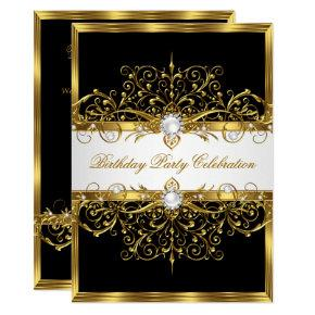 Pearls Black White Gold Elegant Birthday Party Invitation