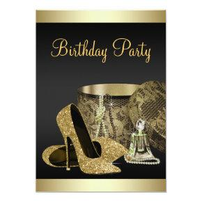 Pearls High Heel Shoes Black Gold Womans Birthday Invitations