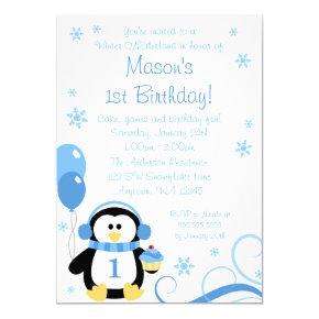 Penguin Cupcake Swirls Winter Onederland Blue Invitation