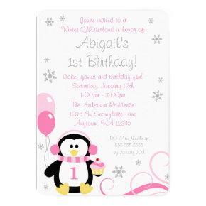Penguin Cupcake Swirls Winter Onederland Pink Gray Invitation