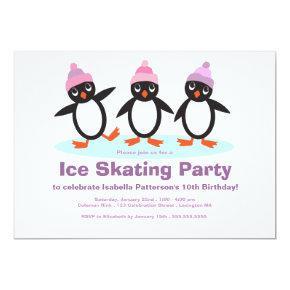 Penguin Trio Girls Ice Skating Birthday Party Invitation