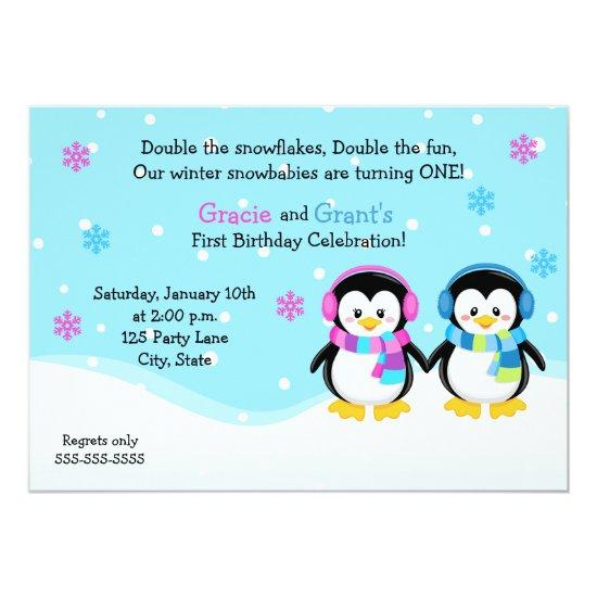 Penguin Twins Birthday Invitation Boygirl Card Candied Clouds