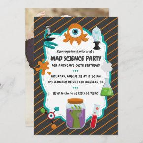 Personalised Mad Science Birthday Party Photo Invitation