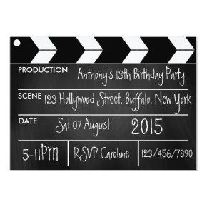 Personalize Hollywood Movie Theme Party Chalkboard Invitation