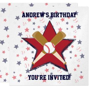 Personalized Baseball player Birthday party Invitations