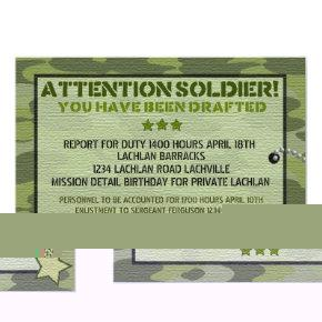 Personalized Birthday Invitation Military Army