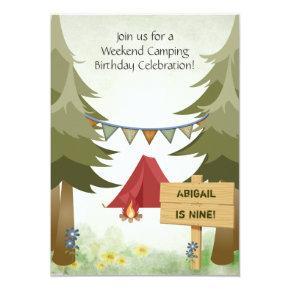Personalized Camping Girls Birthday Invitation